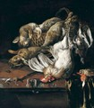 Still Life Of Rabbits On A Wicker Basket, A Bantam Cockerel, Partridge, Kingfisher And A Songbird, Together With A Knife, Arranged Upon A Marble Table-Top Draped With A Green Cloth - Melchoir D'Hondecoeter