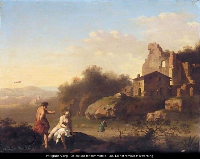 A Southern Landscape With Two Figures Bathing Near Ruins - Cornelis Van Poelenburgh