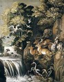 A River Landscape With Deer, Elephants, Lions, Goats And Other Animals And Birds Beside A Waterfall - (after) Roelandt Jacobsz Savery