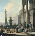 Figures And Tradesmen Near A Fountain In A Roman Square - Johannes Lingelbach