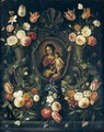 A Stone Cartouche Adorned With Flowers And Butterflies, Surrounding An Image Of The Virgin And Child With The Infant Saint John The Baptist - Jan van Kessel