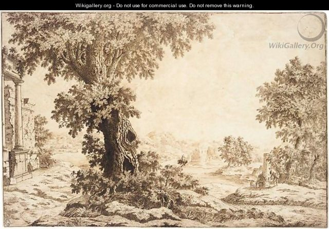 Figures Conversing In An Extensive Landscape, A Large Tree At The Centre, Ruins To The Left. - Italian School
