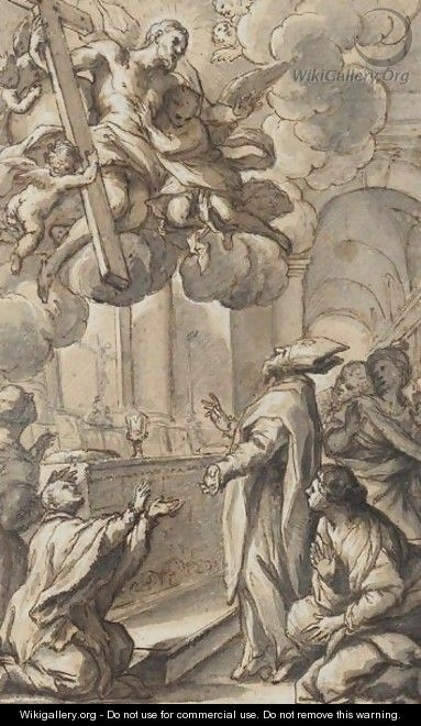 A Bishop And Other Figures Adoring A Vision Of Christ In Glory - Giuseppe Nicola Nasini