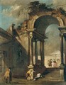 An Architectural Capriccio With Figures Before A Ruined Arch - Francesco Guardi