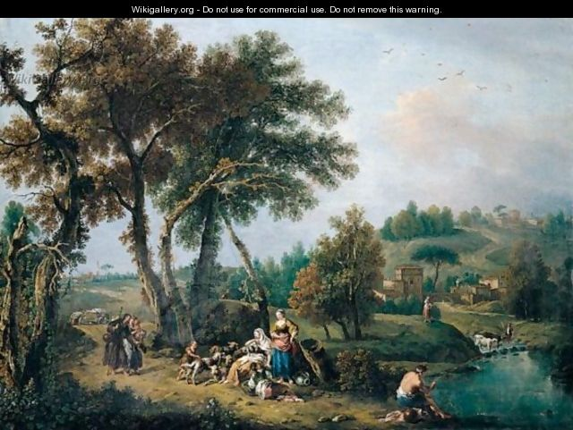 A Pastoral Landscape With The Flight Into Eygpt - Francesco Zuccarelli