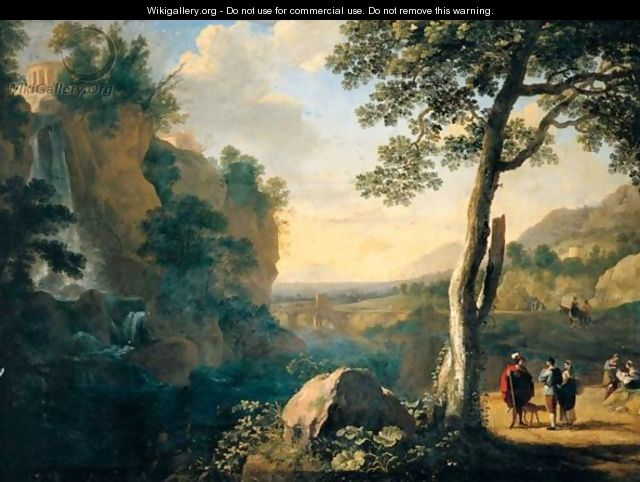 A Southern Landscape With A Fisherman And Figures Conversing On A Road Beside A Waterfall, A Hill Town Above And A Bridge Beyond - Herman Van Swanevelt