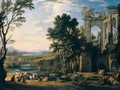 A Classical Landscape With Drovers And Animals Resting On The Banks Of A River Before A Set Of Ruins - Pierre Patel