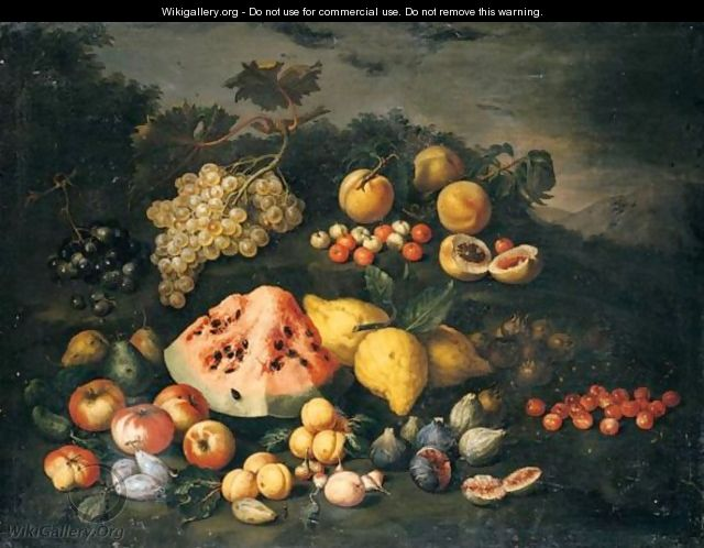 Still Life Of Watermelon, Lemons, Peaches, Apples, Plums, Cherries And Figs In An Open Landscape - (after) Bartolommeo Bimbi