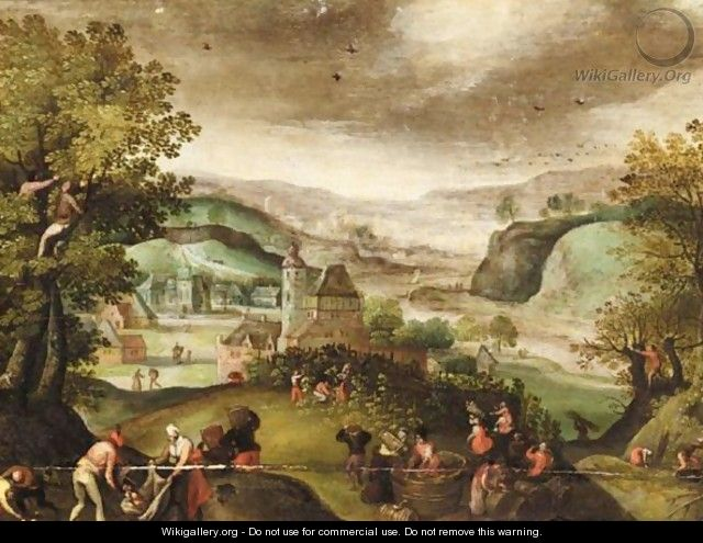 Autumn An Extensive Landscape With Figures Picking Grapes - (after) Abel Grimmer