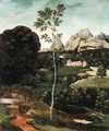 A Landscape With A Path And A Birch In The Foreground, A Farmhouse In The Distance - (after) Joachim Patenier (Patinir)
