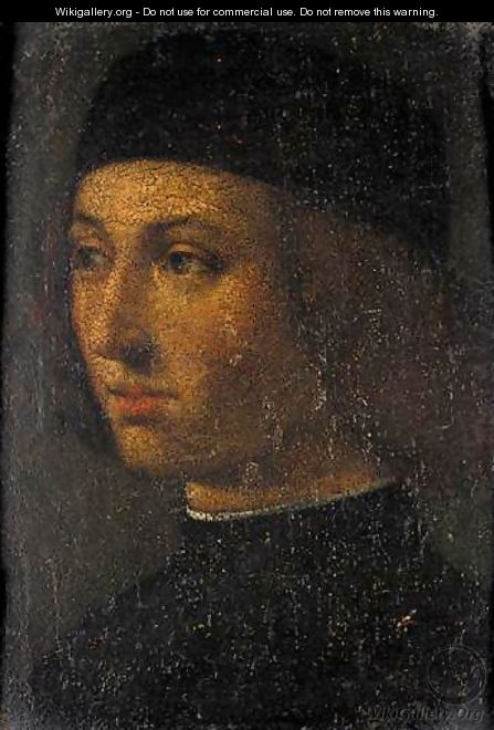 Portrait Of A Young Man, Head And Shoulders, Wearing Black - (after) Andrea Previtali