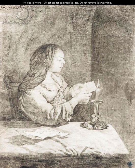 A Young Woman Seated At A Table, Reading A Letter By Candlelight - Frans van Mieris