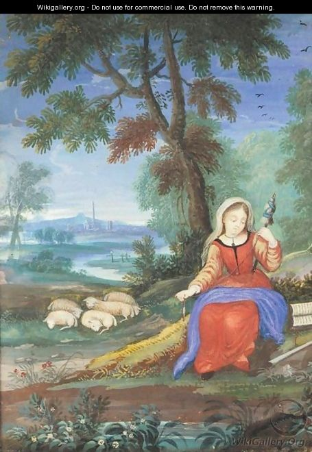 The Virgin As A Shepherdess, Seated In A Landscape And Spinning - Flemish School