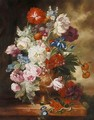 Still Life Study Of Urn Of Mixed Flowers On A Marble Ledge - Dutch School