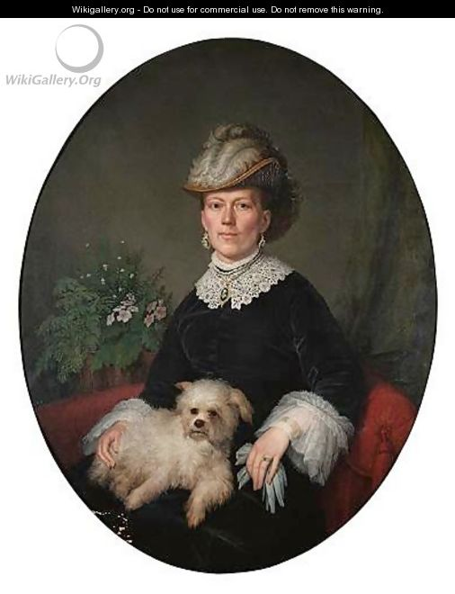 Portrait Of A Lady With Her Pet Dog - Continental School