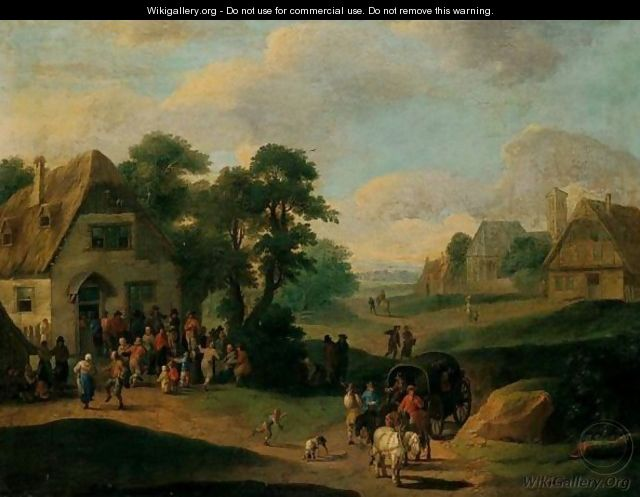 A Village Scene With Peasants Dancing Before An Inn, Waggoners On A Path In The Foreground - (after) Mathys Schoevaerdts