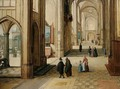A Gothic Church Interior With An Open Loggia To The Left - Hendrick Van Steenwijck II