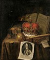 A Vanitas Still Life Of A Crown, An Orb, A Sceptre, A Casket Of Coins And Jewels, Together With Books And An Engraving Of Charles I Of England, All Arranged Upon A Draped Table-Top - Edwart Collier