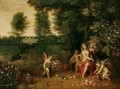 An Allegory Of Spring - Flora Attended By Putti In The Grounds Of A Country Villa - Jan, the Younger Brueghel