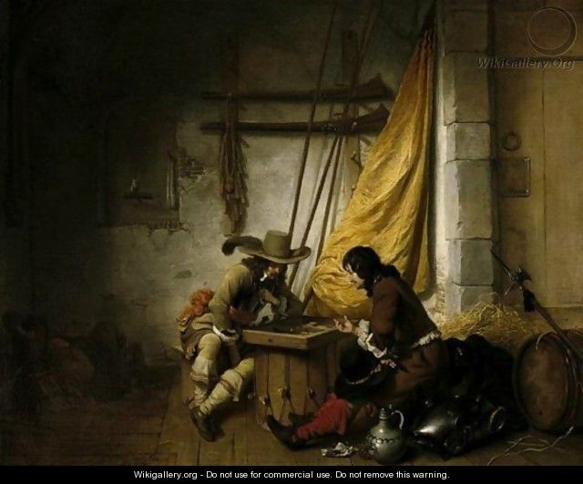 A Guardroom Scene With Two Soldiers Playing Backgammon And Another Asleep - Gerbrand Van Den Eeckhout