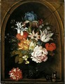 A Still Life Of Tulips, A Rose, An Iris, A Fuchsia, Forget-Me-Nots And Other Flowers In A Berkemeijer Glass, Set In A Niche And Flanked With A Carnation And A Butterfly - Balthasar Van Der Ast