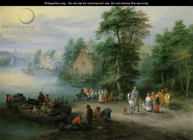 A Wooded River Landscape With Peasants And Cattle By A Ferry, A Village Beyond - Theobald Michau