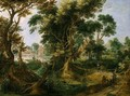 A Wooded Landscape With A Sportsman - Gijsbert Gillisz D'Hondecoeter
