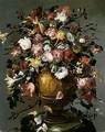 A Still Life Of Roses, Daffodils, Carnations, Narcissi And Tulips In A Gilt Urn, Upon A Stone Pedestal - (after) Francesco Guardi