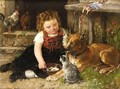 Little Girl Feeding The Animals - Johann Sperl