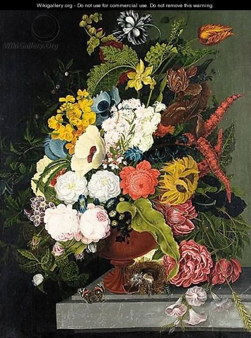 Still Life Of Flowers - German School