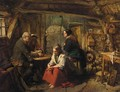 A Family In A Cottage Interior - John Phillip