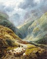 Shepherd With His Flock In A Highland Valley - Robert Watson
