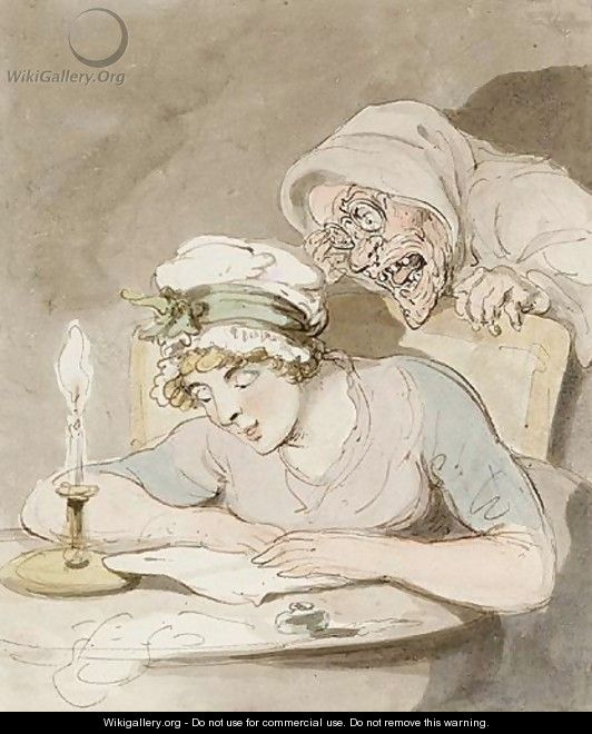 A Young Lady Reading A Book, An Old Hag At Her Shoulder - Thomas Rowlandson