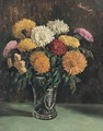 Still Life Of Chrysanthemums - George Leslie Hunter