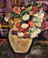 A Still Life Of Flowers In A Yellow Jug - George Leslie Hunter