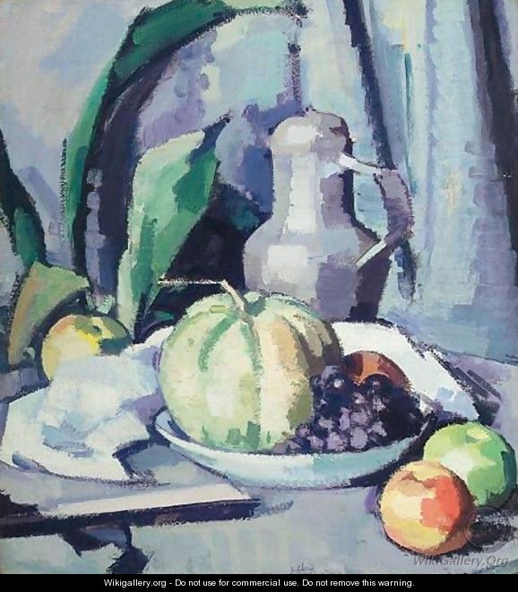 Still Life With Jug, Melon, Grapes And Apples - Samuel John Peploe