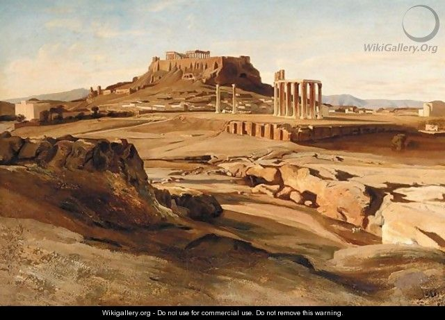View Of The Acropolis From The Elissos River - Johan Carl Neumann