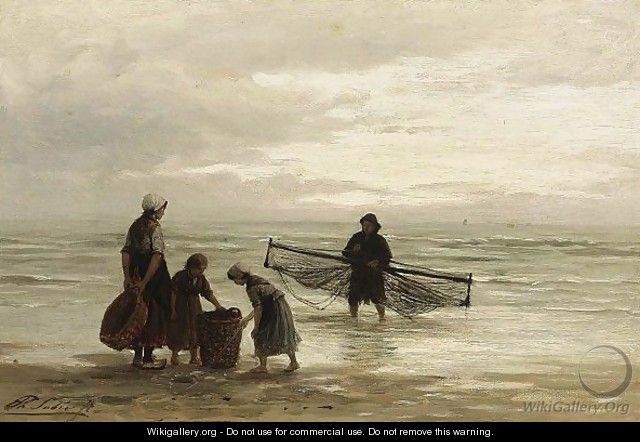 A Shrimper On The Beach - Anthon Gerhard Alexander Van Rappard