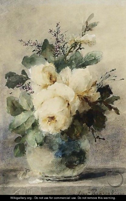 A Still Life With Peonies In A Vase - Margaretha Roosenboom