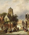A Street Scene With Villagers By A Market Stall - Charles Henri Leickert