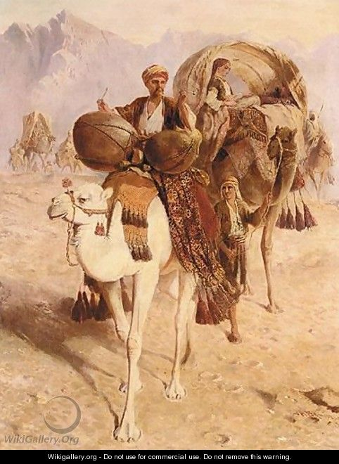 A Caravan Of Camels Crossing The Desert, Mountains Beyond - Joseph-Austin Benwell