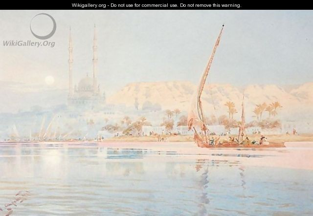 A Dhow On The Nile At Cairo - Augustus Osborne Lamplough