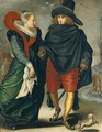 A Lady And A Gentleman Skating In A Winter Landscape - (after) Adriaen Pietersz. Van De Venne