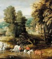Landscape With Waggoners Beside A River, With A Village Beyond - (after) Joos De Momper