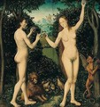 Adam And Eve In The Garden Of Eden - The Taking Of The Forbidden Fruit - (after) Lucas The Elder Cranach