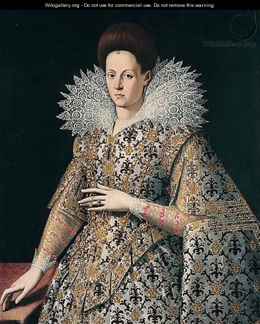 Portrait Of A Lady, Three-Quarter Length, Wearing A Richly Embroidered Dress And Lace Collar - (after) Santi Di Tito