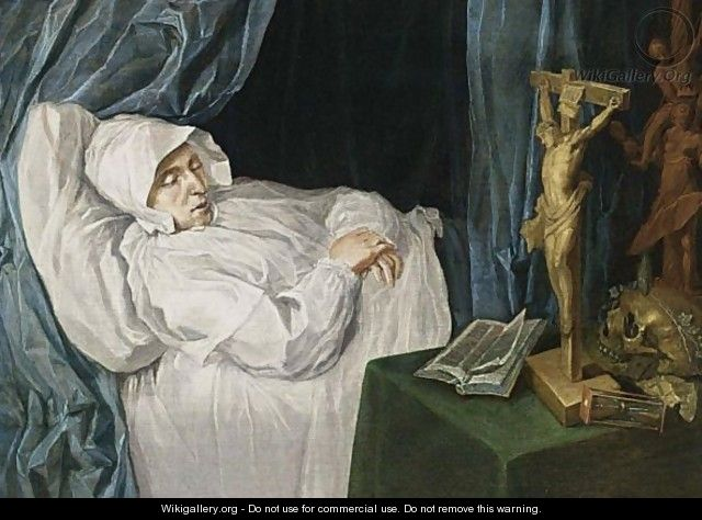 A Woman On Her Deathbed With A Vanitas Still Life On A Table On The Right - Dutch School