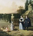 A Portrait Of A Gentleman And His Wife, Both Standing Full-Length With Their Two Children Playing With A Goat And Sheep, Together With A Dog, All In A Garden Setting - (after) Barent Graat