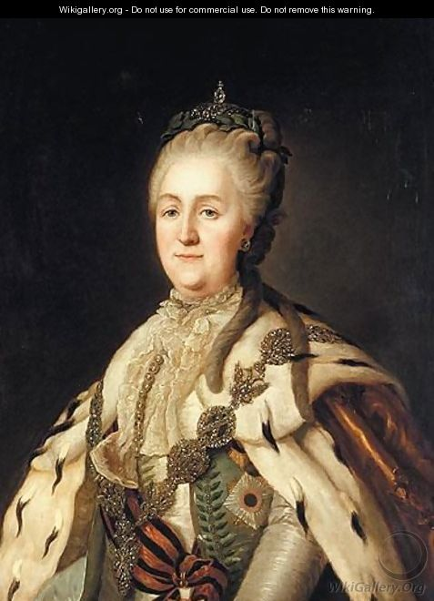 Portrait Of Empress Catherine II Alexeivna In State Robes - (after) Jean Voilles