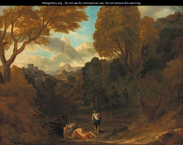 Italianate Landscape With A Classical Scene - (after) Pieter Andreas Rysbrack